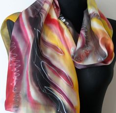 Red yellow beige brown maroon shades silk scarf. https://www.etsy.com/listing/232800105/red-yellow-beige-brown-maroon-shades?ref=shop_home_active_19