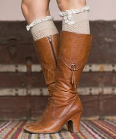 Taupe Lace Pointelle Boot Cuffs