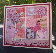 Grid card using pink and red scraps: this blog has lots of beautiful grid cards