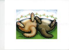 "Art by Shelly Mundel. Ferrets 5X7  inch Canvas.""Fuzz Butts"" #OutsiderArt"