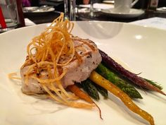This buttery melt in your mouth swordfish is the star of the 4th course. Made with smoked EVOO it's served atop heirloom carrots asparagus & crispy potatoes #YelpOC #goldelite #bluewateryelp
