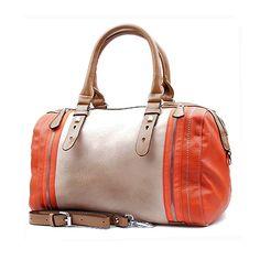 Leather Purse, Beige and Orange Handbag, Leather Tote,