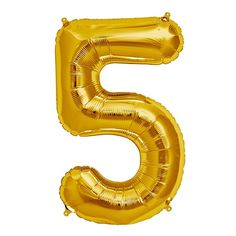 "34"" Gold Foil Mylar Northstar Number Balloon - from Hippenings.com - Five"