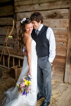 bride and groom portrait, wildflower bridal bouquet, Rustic Handmade DIY wedding, Katelyn James Photography