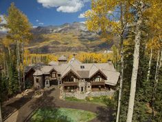 This breathtaking log mansion located in the mountains of Telluride, Colorado is called the Castlewood Manor.