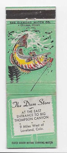 Vintage Matchbook Cover From The Dam Store in Loveland, Colo.