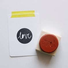 Circle Love Rubber Stamp by whitneyraepaper on Etsy
