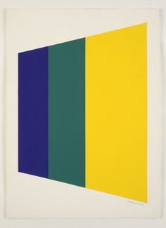 Peter Hedegaard Trapezium [blue / green / yellow], 1970,  gouache on paper,  76 x 56cm