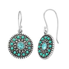 Sterling Silver Crystal & Simulated Turquoise Disc Drop Earrings, Women's, Blue