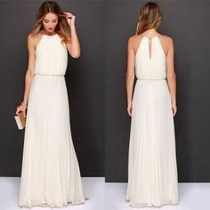 """Our """"Olympian White Maxi"""" The gods will be jealous of you in this Olympian maxi that has pleats, gathered waist, gold neck band halter flowy fit. It has a natural waist, solid color & sleeveless. Made of cotton, poly/chiffon, it breathes while maintaining shape & fit. Be Belle! belle-melange.myshopify.com"""