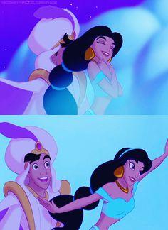Aladdin & Jasmine from Aladdin, Disney<--Poor Aladin, getting Jasmine's hair in his face...