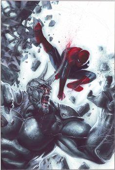 Spider-Man vs Rhino by Gabriele Dell'Otto Amazing Spiderman, All Spiderman, Comic Book Characters, Marvel Characters, Comic Character, Comic Books Art, Comic Art, Ms Marvel, Marvel Comics Art