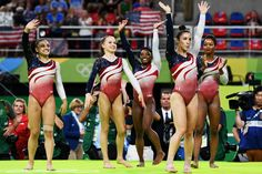 PHOTO: Lauren Hernandez, Madison Kocian, Simone Biles, Alexandra Raisman and Gabrielle Douglas of the United States celebrate winning the gold medal during the Artistic Gymnastics Womens Team Final at the Rio 2016 Olympic Games, Aug. American Gymnastics, Team Usa Gymnastics, Gymnastics Photos, Artistic Gymnastics, Olympic Gymnastics, Olympic Sports, Olympic Team, Gymnastics Girls, Olympic Games
