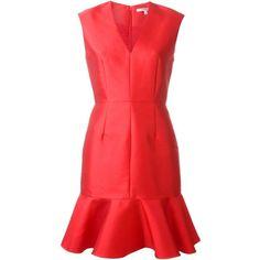 Carven peplum hem dress ($605) ❤ liked on Polyvore featuring dresses, red, v neck peplum dress, red sleeveless dress, red dress, carven dress and v neck dress