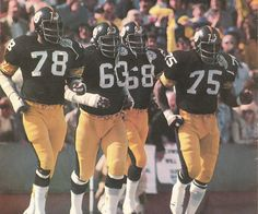 The Pittsburgh Steelers: Steel Curtain. Joe Greene, L. C. Greenwood, Dwight White, and Ernie Holmes owned the line of scrimmage, anchoring the best defensive unit in NFL history. In 1976, they shut out five opponents and held three others from scoring a touchdown. Soon, they were known as the Steel Curtain, the most feared and respected front four ever to play the game. Photo credit: L. C. Greenwood.
