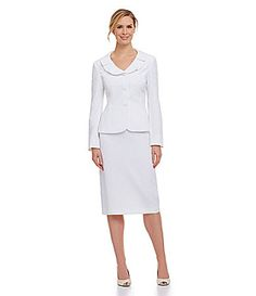 JM Studio by John Meyer Ruffle-Collar Skirt Suit   Dillards.com