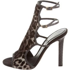 Pre-owned Tamara Mellon Leopard Print Sandals ($130) ❤ liked on Polyvore featuring shoes, sandals, grey, grey sandals, patent leather shoes, multi colored sandals, leopard print shoes and cage sandals