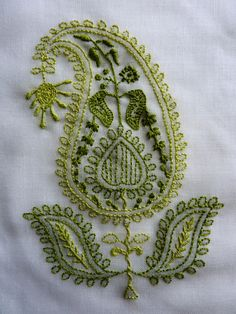 Chikan Embroidery / green paisley