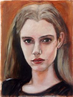 Young and beautiful: German fashion model Esther Heesch, acrylic on paper 40x50