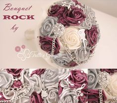 Bouquet gioiello a tema musica rock con rose. Alternative bouquet for music rock themed wedding.  #bouquet #wedding