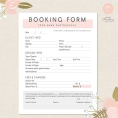 photography contract template Photography Forms Client Booking Form For by StudioStrawberry .