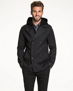 86859cdd1b4e Textured Wool Double Breasted Peacoat