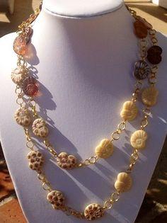 AMMONITES NAUTILUS GOLDEN CARAMEL CREAM DREAM NECKLACE | evezbeadz - Jewelry on ArtFire, FREE Shipping Globally ~Limited Offer