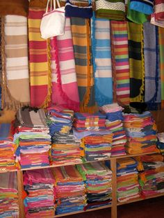 Colorful Mexican weavings and textiles in the Oaxaca market of Santo Tomas