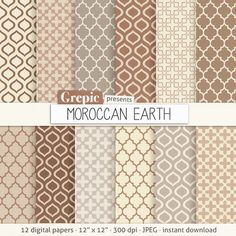 "Moroccan digital paper: ""MOROCCAN EARTH"" cream beige brown grey neutral earth tones w/ morocco arabic patterns, quatrefoil #clipart #texture"