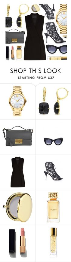 """""""Black & Gold"""" by monmondefou ❤ liked on Polyvore featuring Movado, Salvatore Ferragamo, Thierry Lasry, BCBGMAXAZRIA, Sophia Webster, Estée Lauder, Tory Burch, Chanel, Guerlain and Yves Saint Laurent"""
