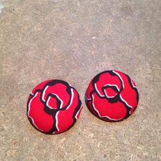 Covered button earrings. #redrose, #tmboutique2014