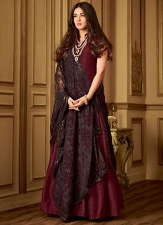 6bc0e383e7 Maroon Banarsi Silk Rumani 6407 By Maisha Floor Length Anarkali SC/013261