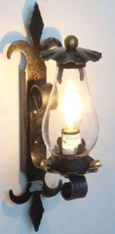 Lanterna lampada applique plafoniera in ferro battuto for Ebay arredamento antiquariato