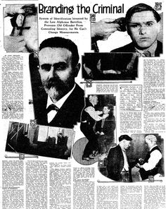 """A newspaper article about the prison identification system invented by Alphonse Bertillon, published in the Colorado Springs Gazette (Colorado Springs, Colorado), 15 March 1914. Read more on the GenealogyBank blog: """"Outlaws in the News: Bonnie & Clyde, Al Capone & My Ancestor."""" http://blog.genealogybank.com/outlaws-in-the-news-bonnie-clyde-al-capone-my-ancestor.html"""