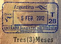 Argentina Entry Stamp...things have changed since my passport was last stamped upon entry.