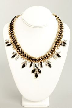 Chunk of Chains Gold and Black Necklace at LuLus.com!