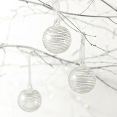 Small Glitter Stripe Bauble - Set of 3  from The White Company