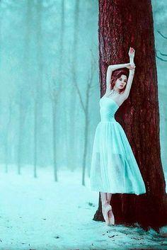 Turquoise | Aqua | Snowy forest ballerina