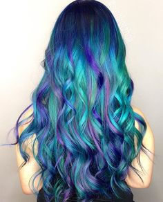 We've gathered our favorite ideas for 20 Balayage And Ombre Mermaid Hair Ideas To Rock Styleoholic, Explore our list of popular images of 20 Balayage And Ombre Mermaid Hair Ideas To Rock Styleoholic in blue & green & purple hair. Peacock Hair Color, Cool Hair Color, Mermaid Hair Colors, Blue Mermaid Hair, Mermaid Wig, Mermaid Makeup, Purple Hair, Ombre Hair, Hair Dye