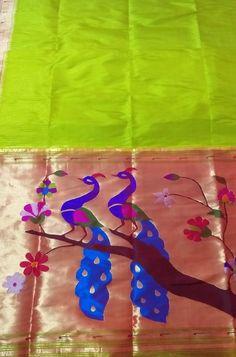 Shop more Handloom Paithani Pure Silk Saree at Luxurionworld. Green Fabric, Silk Fabric, Indian Ethnic, Indian Art, Peacock Design, Pure Silk Sarees, Saree Styles, Indian Sarees, Textured Background