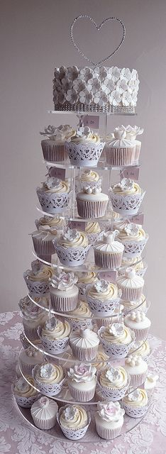 Vintage Wedding Cupcakes by Little Paper Cakes Vintage Wedding Cupcakes, Cupcake Tower Wedding, Mini Wedding Cakes, Amazing Wedding Cakes, Wedding Cakes With Cupcakes, Fun Cupcakes, Cupcake Party, Cupcake Cakes, Party Cakes