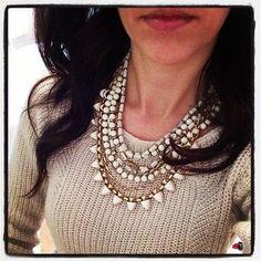 Stella & Dot Sutton Necklace White Stone worn over a knit sweater.