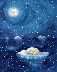 Художник-Иллюстратор annie patterson beautiful moon, stars and moon, polar bears, oso Art D'ours, Good Night Moon, Beautiful Moon, Bear Art, Moon Art, Whimsical Art, Stars And Moon, Painting & Drawing, Fantasy Art