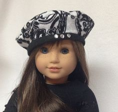 Black and white beret for 18 dolls fits by JulesNmeDollDesigns