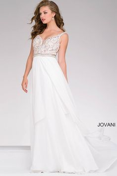 Beautiful ivory floor length fit and flare sleeveless chiffon prom dress features multi color embellished bodice with a plunging sweetheart neckline, also available in black, red and royal.