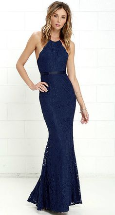 Navy blue lace formal gown | Gorgeous for blue bridesmaid dresses! Zenith Navy Blue Lace Maxi Dress From Lulus