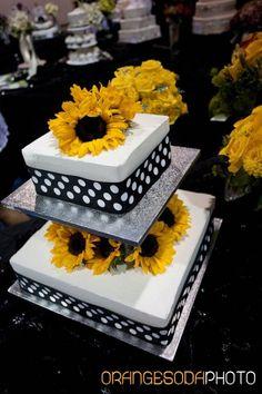 Black and white polka dots and sunflowers wedding cake! Fun!