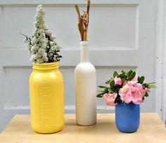 Duas formas para reciclar garrafas e potes de vidro para fazer vasinhos de flores | Como fazer em casa Artesanato