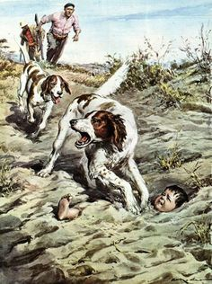 A Baby Buried Alive Saved By Dogs Walter Molino (1915 – 1997, Italian)