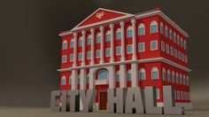 #3dModel of a simple #CityHall type #building using #Blender 3d software